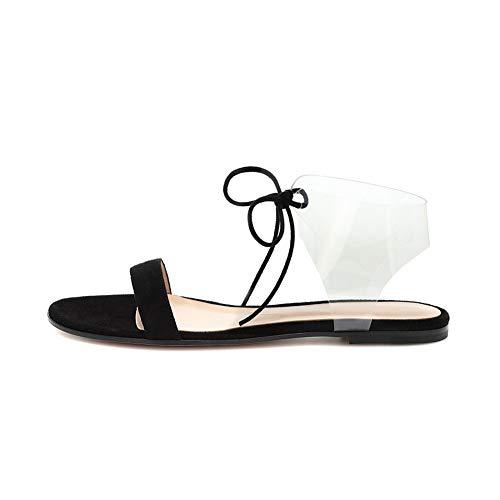 Sandalias Cuero Planas Verano Mujer, MWOOOK-2218 Sexy Punta Abierta Correas de Playa Ajustables Tacones Bajos Deportivas Cómodas Zapatos para Caminar,Negro,44 EU