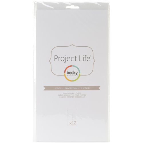 Becky Higgins 380011 Project Life Photo Pocket Page Protector-12 x Design H (12 Piece), Clear
