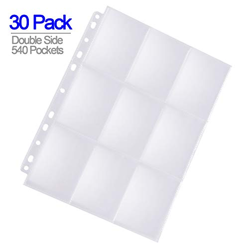 ABLY 540 Pockets Double-Sided Trading Card Pages Sleeves 9-Pocket Clear Plastic Game Card Protectors for Skylanders, Pokemon, Baseball Cards and More, Fit 3 Ring Binder (30 Pages)