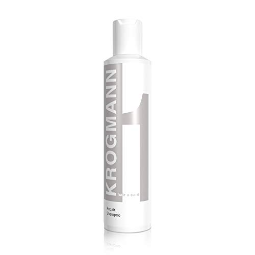 KROGMANN Repair Shampoo 1, Haarshampoo für coloriertes Haar, für sofortigen Glanz & Farbkraft, intensive Pflege für sprödes Haar, repariert Haarschäden, ohne Silikon, Friseur-Qualität, 200 ml