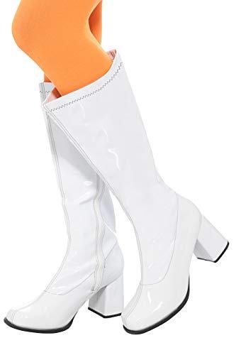 Smiffys 48061M - Damen GoGo Stiefel, 7.6 cm Absatz, Größe: 39.5-40.5, weiß