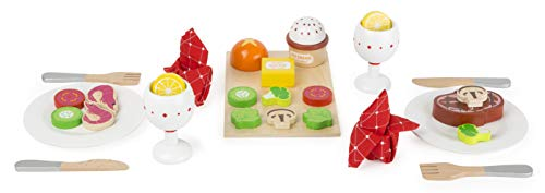 Small Foot 11215 Dinner-Set aus Holz, 29-TLG, Kinderküchen-Zubehör Spielzeug, Mehrfarbig