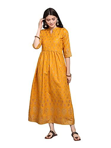 Rubi Algodón Foil print largo indio mujer maxi vestido casual festivo vestido largo - amarillo - XL