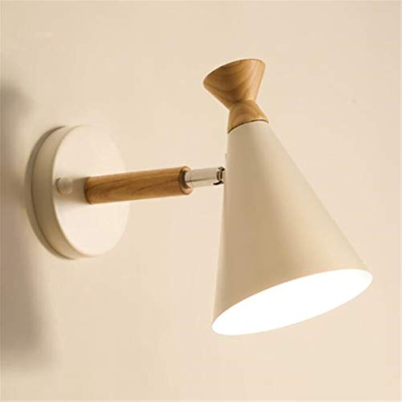 Kronleuchter Nordic Minimalist Weiß Wandleuchte Schlafzimmer Nachttischlampe Kreative Wohnzimmer Wandleuchte Treppe Lampe Massivholz Gang Lampe Schmiedeeisen Wandleuchte