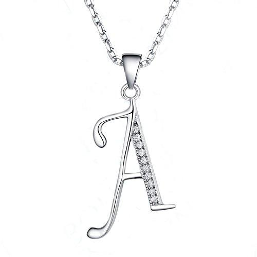 Paialco Collar Iniciales Plata de Ley 925 Colgante con CZ Diamonds Dijes - Carta A