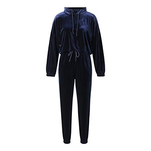 Conjunto de chándal de 2 piezas para mujer, de terciopelo suave, manga larga, sudadera con capucha y pantalones para correr