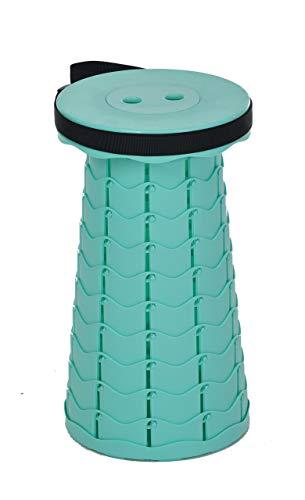 GASPO Campinghocker Klappstuhl, tragbarer Teleskophocker, faltbar, für Outdoor Camping Angeln 45 cm, Türkis, Belastung 130 kg