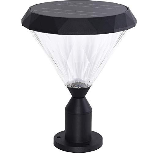 GIOAMH Lámpara de columna solar para exteriores, luces de poste LED con control remoto regulable, lámpara de columna de césped de aluminio fundido a presión con temporización impermeable, luz de pare