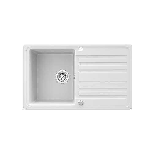 Bergström Granitspüle 760x460mm inkl. Siphon Küchenspüle Einbauspüle reversibel (Weiß)