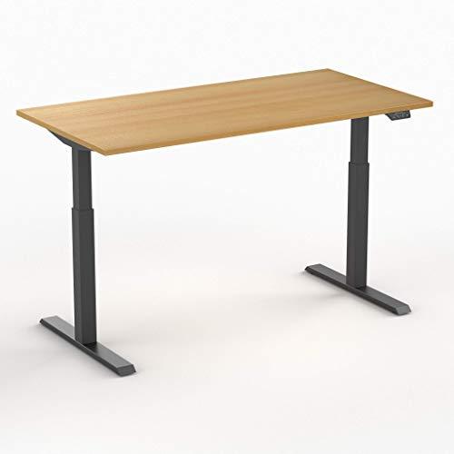Worktrainer Elektrischer Sitz-Steh-Schreibtisch Steelforce 370 (Schwarz/Buche 160 x 80cm)