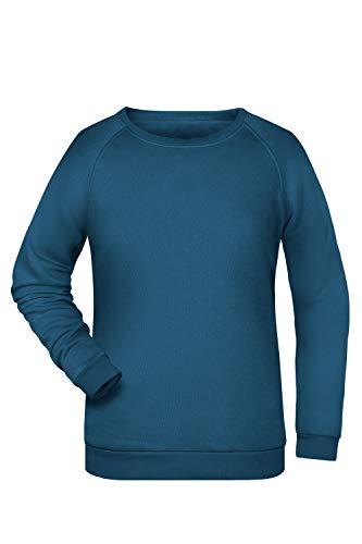 Damen Pullover Sweatshirt Raglan Ärmel Sweater Baumwolle Uni Basic in Petrol Größe: S