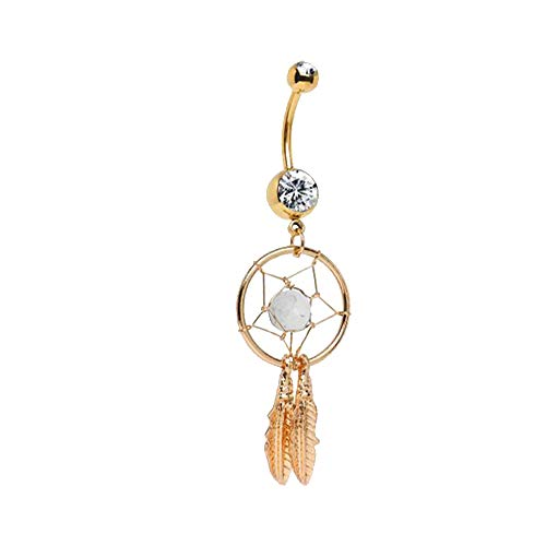 """Gold Anodized Dream Catcher Belly Button Ring 14 Gauge 7/16"""" By Eg Gifts"""