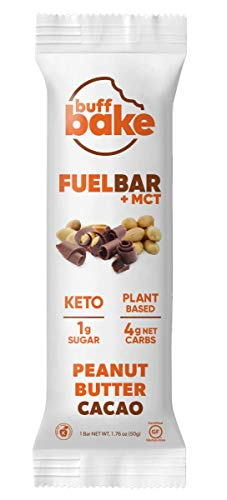 Buff Bake Fuel Bar + MCT | KETO FRIENDLY | Plant Based | Non-Dairy | Vegan |12g of Protein | 1g Sugar | 4g Net Carbs | Gluten Free (Peanut Butter Cacao), 1.76 Ounce (Pack of 12)