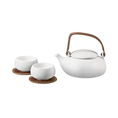 ZENS | White Ceramic Tea Set | Smooth Matte Texture | Natural Bentwood Handle | Includes Teapot (28 oz/800 mL), 2 Double Wall Teacups, 2 Rattan Coasters and a Stainless Steel Strainer for Loose Leaf