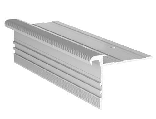 RenoProfil 90 cm Treppenprofil STANDARD 8,5 für Laminat und Vinyl - Treppenkantenprofil für Treppenverkleidung und Treppenrenovierung - Farbe: Silber-Natur