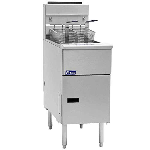 Natural Gas Pitco SG14-S 40 - 50 lb. Stainless Steel Floor Fryer - 4 Tubes, 110,000 BTU