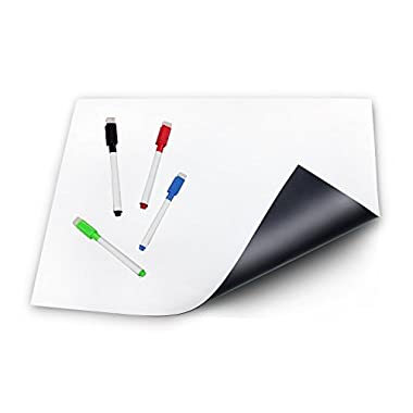 Magnetic Dry Erase Whiteboard Sheet for Refrigerator 17x13  – Ideal for Families & Roommates – Fridge Board & Reminders – 4 Markers & Cloth Eraser Included