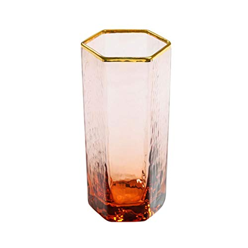 WxberG Juego de 2 vasos geométricos transparentes para beber, vasos de licor, vaso único de 11 onzas para zumo, whisky, whisky, bourbon (color: 260 ml)
