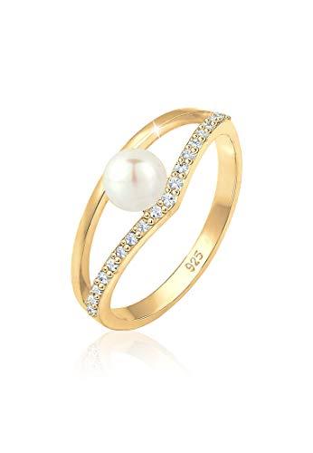 Elli Ring Süßwasserzuchtperle Swarovski® Kristalle Silber