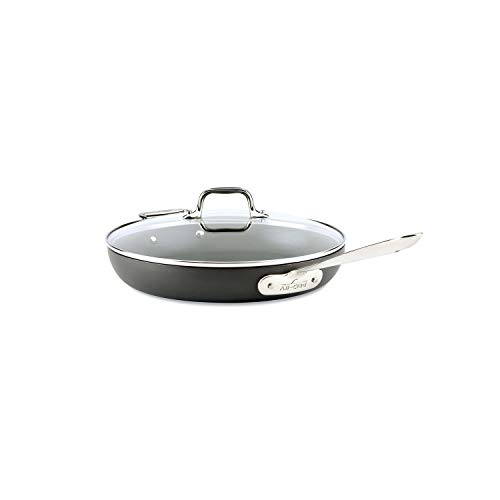All-Clad HA1 Hard Anodized Nonstick Frying Pan with Lid, 12 Inch Pan Cookware, Medium Grey -