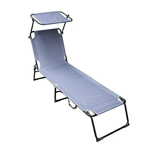 VINGO Sonnenliege mit Dach, klappbare Strandliege, 189cm Länge Verstellbar,Gartenliege mit Kopfkissen, Sonnendach verstellbar, Liegestuhl mit Verstellbarer Rückenlehne,grau