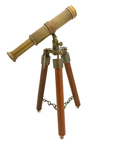 """Telescopio de latón de tamaño completo en un soporte trípode de madera 39/"""" longitud del tubo"""
