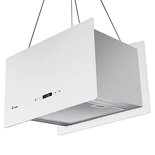 KKT KOLBE Design-Dunstabzugshaube/Inselhaube / 60cm / Edelstahl/weiß/Extra-leise / 674m³/h / 4 Stufen/LED-Beleuchtung/TouchSelect Sensortasten/Seilbefestigung / CUBE60W