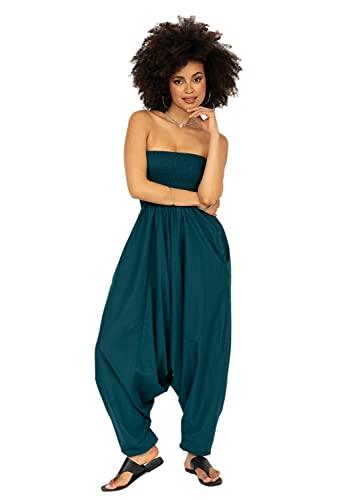 likemary Extraweite Damen Haremshose - Einteiler aus Baumwolle – Jumpsuit Overall - Pluderhose mit Bandeau Oberteil - Größen 36 bis 44 - Vielseitig anpassbar blau grünblau