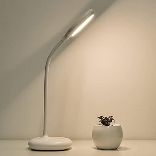 Lámpara de escritorio LED, CofunKool Lámpara de mesa Regulable 3 Modos de Color, Flexible Control Tactil Protección para los ojos Lampara de Lectura, Recargable Lámpara de noche con puerto USB