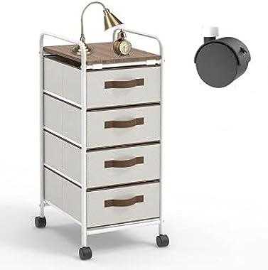 4 Drawer Fabric Dresser Storage Tower with Wheels, Keggs Storage Cart 4 drawers white Dresser Chest with Wood Top, Organizer