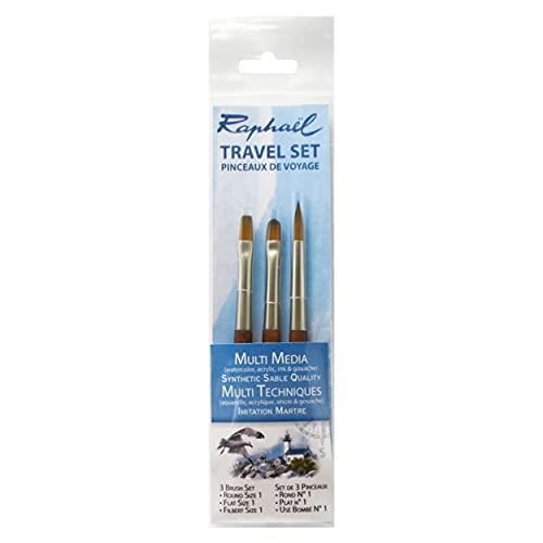 Raphael Precision Travel Brush Set, Round 1, Flat 1, Filbert 1, Natural