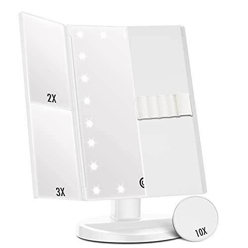 Espejo Maquillaje con Luz, Espejo de Mesa Tríptica Espejo con Aumentos 10x, 3X, 2X, 1x, Pantalla táctil Lámparas Rotación de 180° Espejo Cosmético Carga con USB o Batería (White+Brushholder)