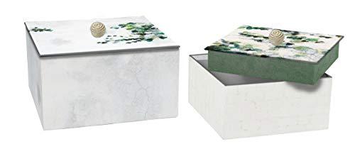Clairefontaine 115529C - Un lot de 2 boîtes gigognes carrées Hedera (20 x 20 x 14 cm et 16 x 16 x 11 cm), couleurs assorties