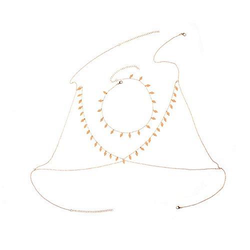 WESDOO exy Femme Bijoux de Corps Femme Sexy Taille Perles ci-Dessous 200 Chaînes de Corps pour Les Femmes Chaîne en Or Corps Harnais Chaîne du Ventre Gold