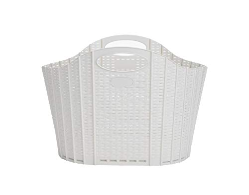 Mind Reader RFOLDBASK-IVO 38 Liter, Laundry, Storage, Bathroom, Bedroom, Home, 38 L, Ivory 38 Closed Basket