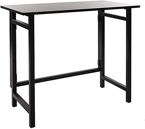 Escritorio de pie plegable para ordenador, sin montaje, mesa de trabajo, moderna, pequeña, portátil, estudio, escritorio, escritorio, para el hogar, oficina, escritorio (color: negro), negro
