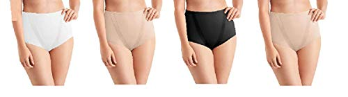 Maidenform Tummy Toning Shaping Briefs, All Over Smoothing, Comfort Leg Opening Perfect for Every Day 4 Pack (4 Pack- Black, White, Latte, X-Large)