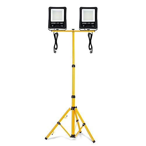 Froadp LED Baustrahler Arbeitsstrahler mit Höhenverstellbar Tripod-Ständer Blitzschutz Sicherheitsbeleuchtung Fluter für Außenanwendungen Gärten Villen Parks Stadien(2x100W, Kaltweiß)