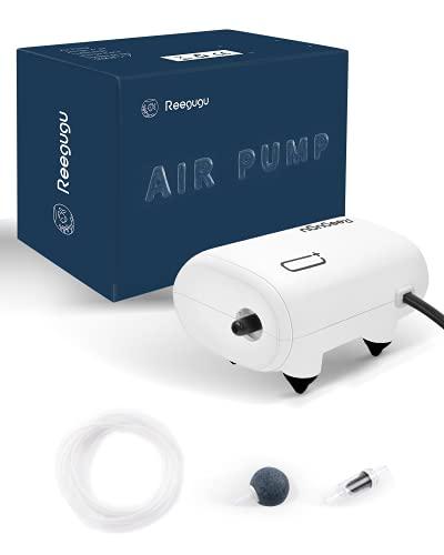 Reegugu Pompa ad aria per acquario, pompa per ossigeno super silenziosa con pietra porosa, tubo dell'aria, valvola di ritegno, 2.5 W, 50L/H, per serbatoio 10-120L