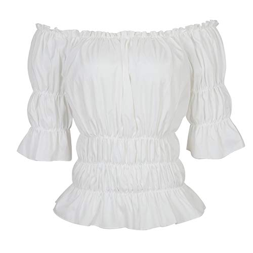 Women Renaissance Blouse Victorian Steampunk Pirate Shirt Off Shoulder Short Sleeve Smocked Blouse Tops White Small