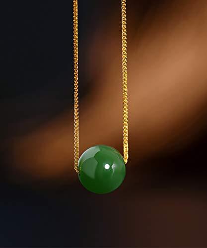 DX.GD@ Frauen Grüne Jade Anhänger Minimalismus 9-10MM Natürlich Nephrit Korn 18 Karat Gold Halskette Perfekt Schmuck Geschenke Zum Jubiläum Weihnachten