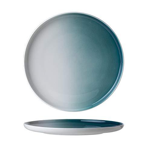 YLMF Placa de cerámica de estilo japonés de estilo occidental de carne de vacuno redonda placa plana resistente a altas temperaturas, apto para lavavajillas, 10 pulgadas