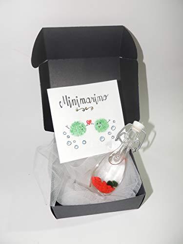 Generico Minimarimo, Due Mini marimo in bottiglina di Vetro di 12 cm - Alga Palla