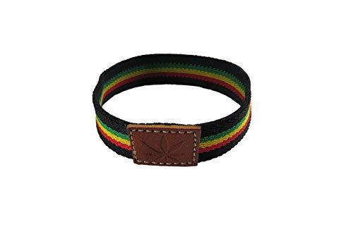B&F Pulsera Jamaica Tela Elástica para Hombre/Mujer/Cómoda y Elegante Tejida Mediante Cuero y Tela Envíos 24H Prime