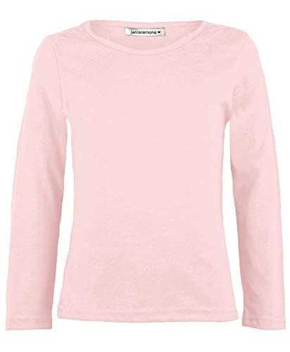 Janisramone - Camiseta básica infantil elástica en color liso, de manga larga y cuello redondo Negro color carne 9-10 Años