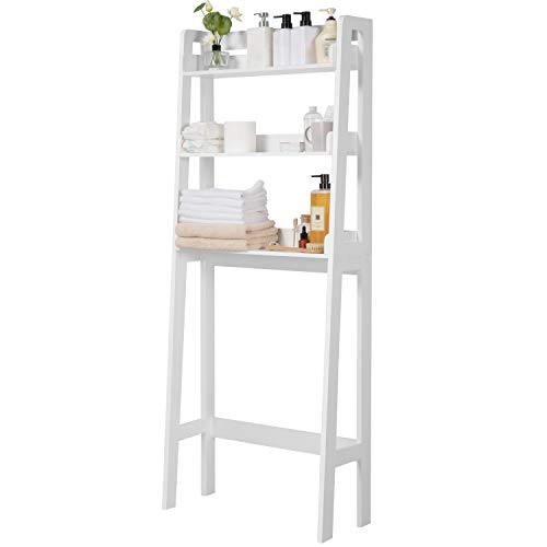 Yaheetech 3-Shelf Over-The-Toilet Storage, Freestanding Bathroom Shelf Organizer, Space Saving Wooden Toilet Rack Water-Resistant Finish, White