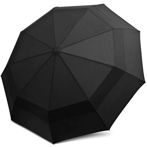 DORRISO Herren Damen Automatik Regenschirm Windsicher Leicht Stabiler Sonnencreme Regenschutz Dauerhafte Kompakt Taschenschirm Reise Regenschirm Schwarz