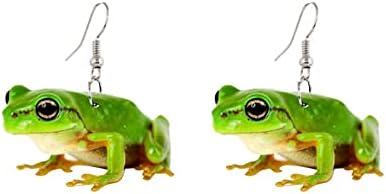 coadipress Acrylic Frog Earrings for Women Girls Personalized Creative Lovely Handmade Printed Simulated Green Frog Animal Dangle Drop Weird Earrings