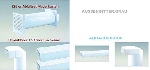 Abluftset 125mm Mauerkasten rund mit Rechteckanschluss und Rückstauklappe 2x Flachkanal 1m sowie Umlenkstück von flach auf rund Abluft Küche Dunstabzug-Aussengitter:Grau