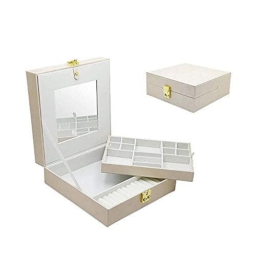 JIANGCJ Bella Mini Caja de joyería de Cuero Organizador con Espejo Caja de exhibición de joyería de Doble Capa Caja de talapón